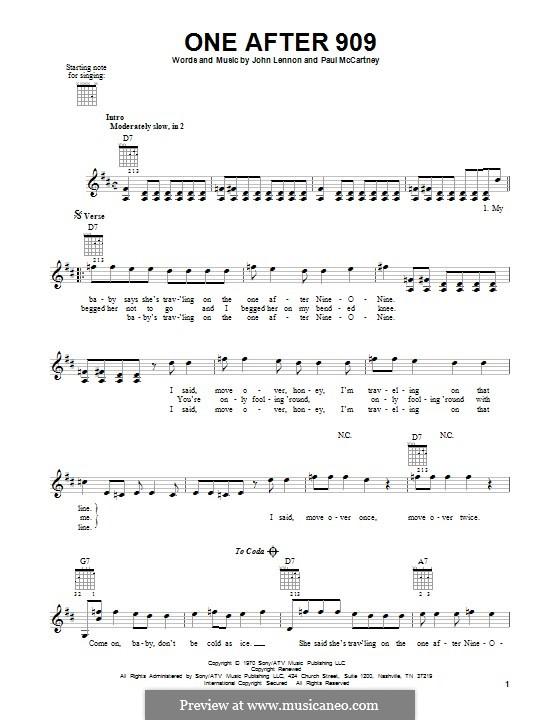 One After 909 (The Beatles): Für Gitarre mit Tabulatur by John Lennon, Paul McCartney