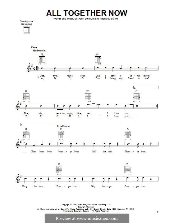 All Together Now (The Beatles): Für Gitarre mit Tabulatur by John Lennon, Paul McCartney