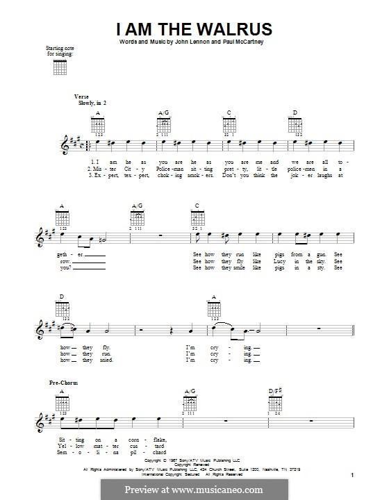 I am the Walrus (The Beatles): Für Gitarre mit Tabulatur by John Lennon, Paul McCartney