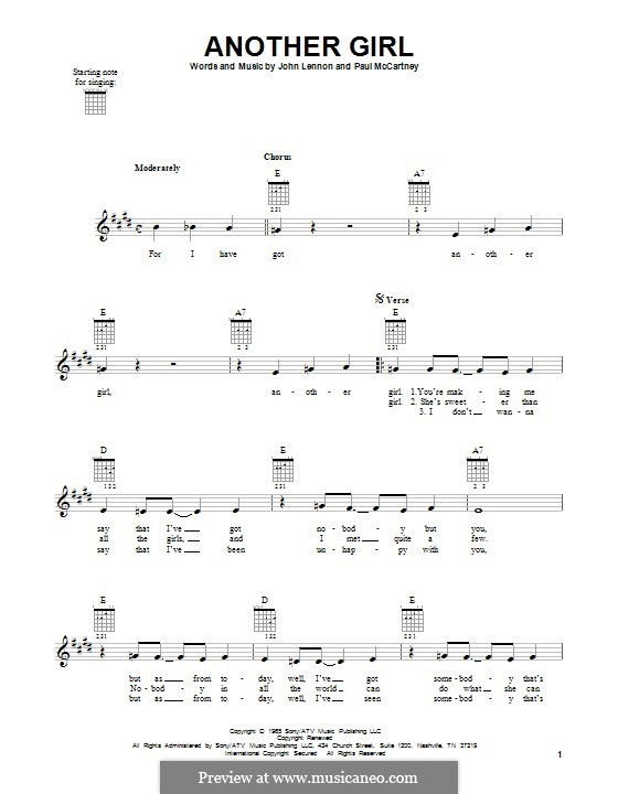 Another Girl (The Beatles): Für Gitarre mit Tabulatur by John Lennon, Paul McCartney