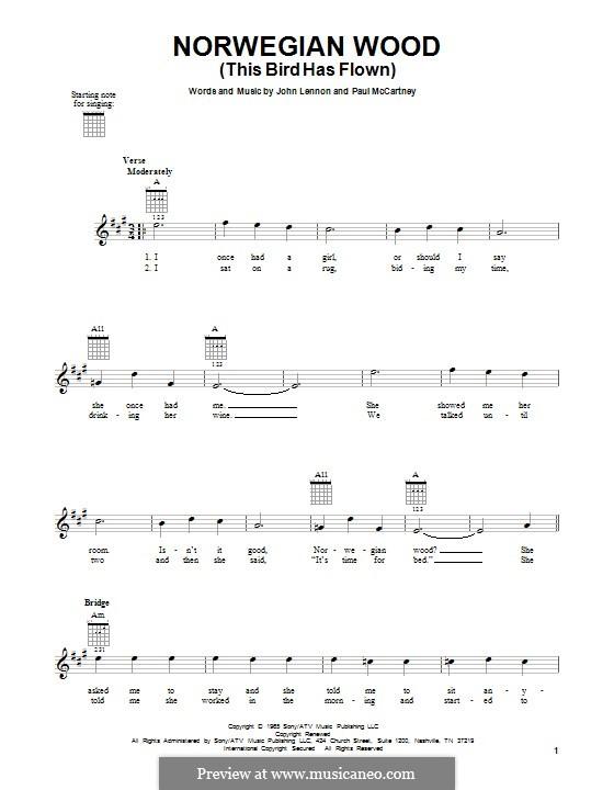 Norwegian Wood (This Bird Has Flown): Für Gitarre by John Lennon, Paul McCartney