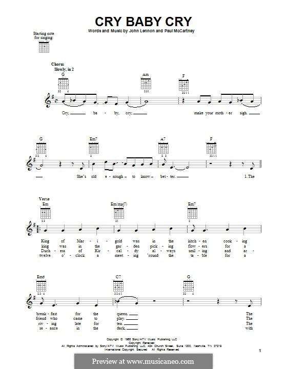 Cry Baby Cry (The Beatles): Für Gitarre by John Lennon, Paul McCartney