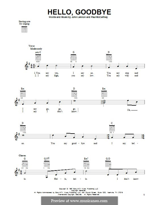 Hello, Goodbye (The Beatles): Für Gitarre mit Tabulatur by John Lennon, Paul McCartney