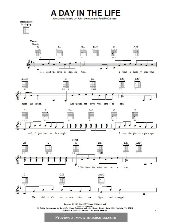 A Day in the Life (The Beatles): Für Gitarre by John Lennon, Paul McCartney