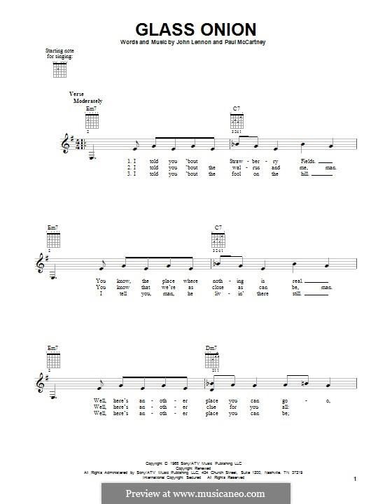 Glass Onion (The Beatles): Für Gitarre mit Tabulatur by John Lennon, Paul McCartney