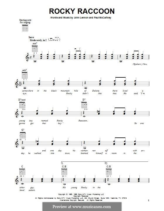 Rocky Raccoon (The Beatles): Für Gitarre mit Tabulatur by John Lennon, Paul McCartney