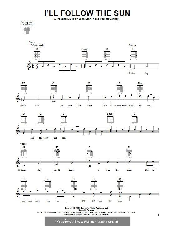 I'll Follow the Sun (The Beatles): Für Gitarre by John Lennon, Paul McCartney