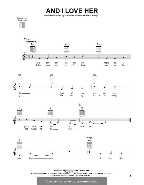 And I Love Her (The Beatles): Für Gitarre by John Lennon, Paul McCartney