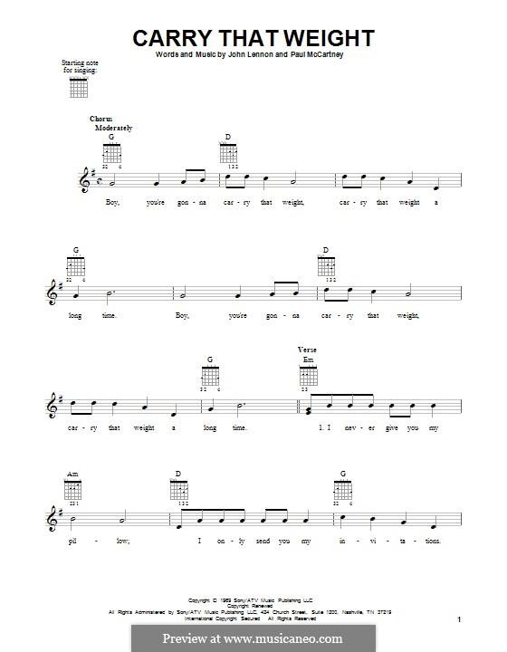 Carry That Weight (The Beatles): Für Gitarre by John Lennon, Paul McCartney