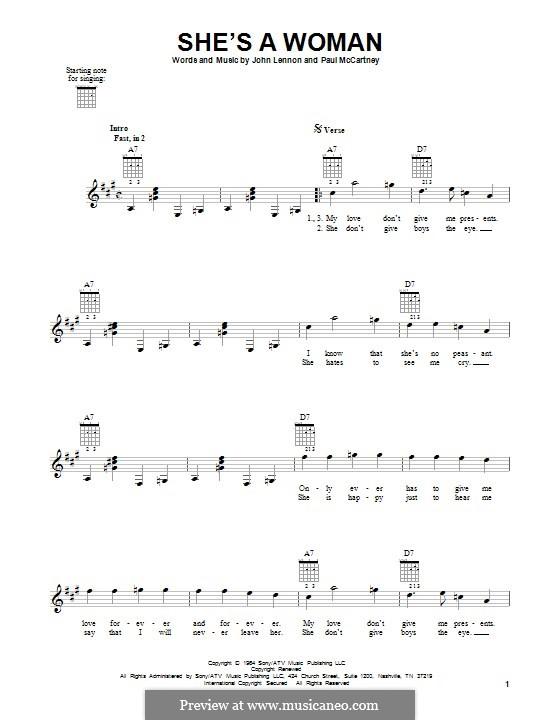 She's a Woman (The Beatles): Für Gitarre by John Lennon, Paul McCartney