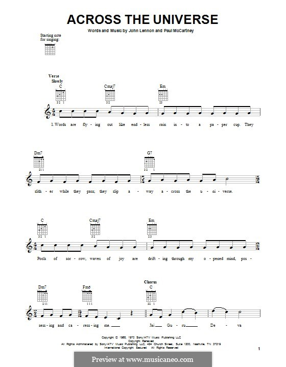 Across the Universe (The Beatles): Für Gitarre by John Lennon, Paul McCartney
