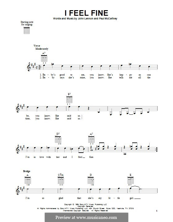 I Feel Fine (The Beatles): Für Gitarre by John Lennon, Paul McCartney