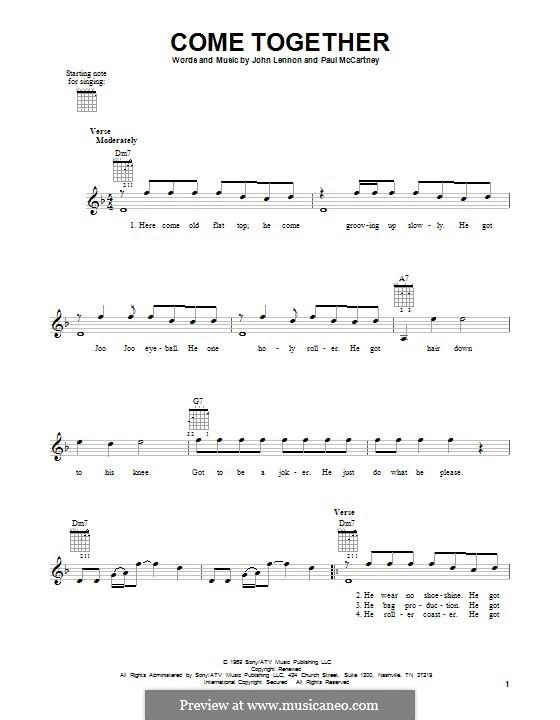 Come Together (The Beatles): Für Gitarre by John Lennon, Paul McCartney