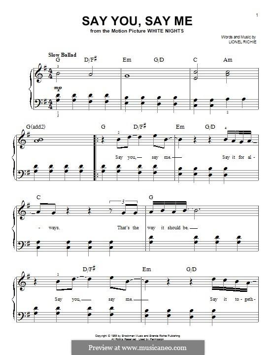 Say You, Say Me: Für Klavier by Lionel Richie