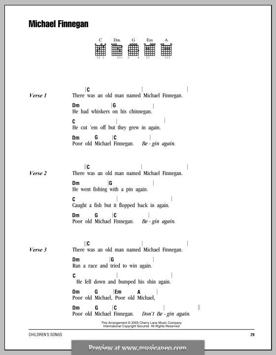 Michael Finnegan: Text und Akkorde by folklore