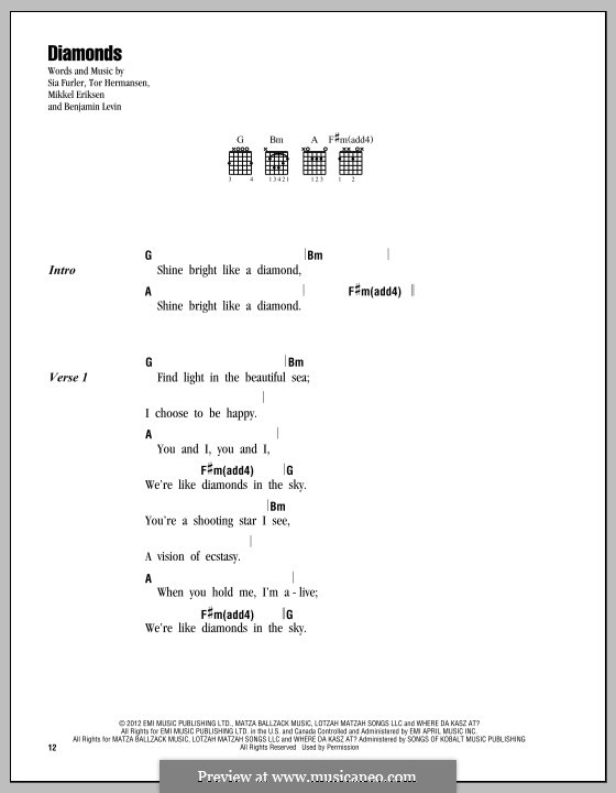 Diamonds (Rihanna): Text und Akkorde by Benjamin Levin, Mikkel Storleer Eriksen, Sia Furler