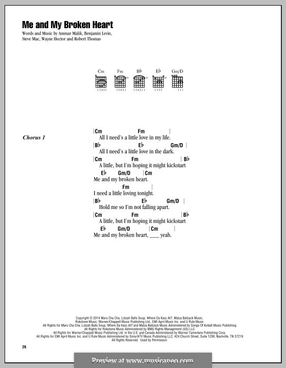 Me and My Broken Heart (Rixton): Text und Akkorde by Ammar Malik, Benjamin Levin, Rob Thomas, Steve Mac, Wayne Anthony Hector