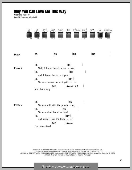 Only You Can Love Me This Way (Keith Urban): Text und Akkorde by John Reid, Steve McEwan