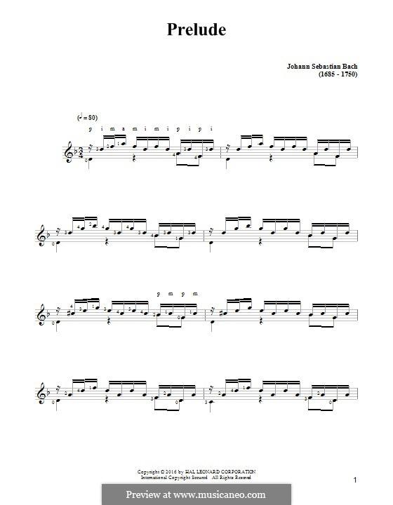 Präludium in c-Moll, BWV 999: Für Gitarre mit Tabulatur by Johann Sebastian Bach