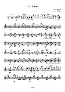 Lacrimosa: For string quartet – violin II part, Ор.9 No.1 by Wolfgang Amadeus Mozart