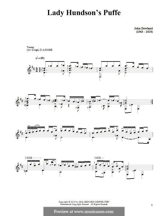 Lady Hunsdon's Puffe: Für Gitarre by John Dowland