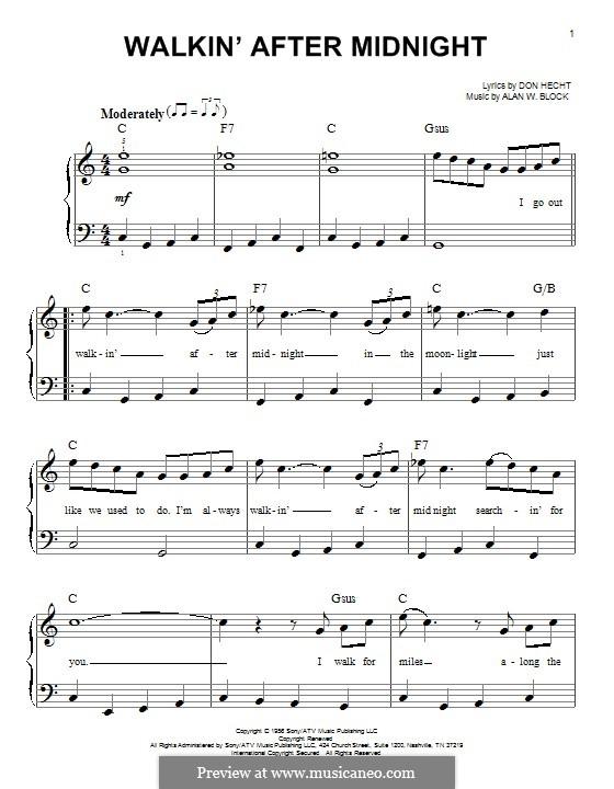 Walkin' After Midnight (Patsy Cline): Für Klavier by Alan W. Block