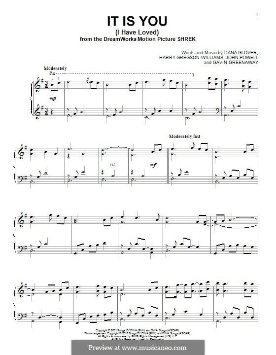 It Is You (I Have Loved): Für Klavier by Dana Glover, Gavin Greenaway, Harry Gregson-Williams, John Powell