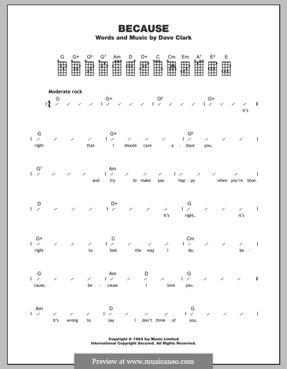Because (The Dave Clark Five): Für Ukulele by Dave Clark