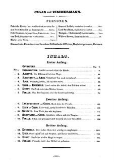Zar und Zimmermann, LoWV 38: Bearbeitung für Stimmen und Klavier by Albert Lortzing