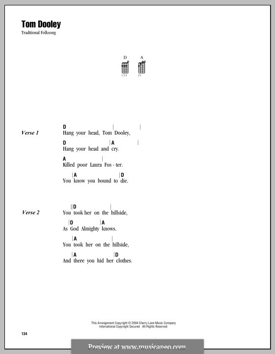 Tom Dooley: Für Ukulele by folklore