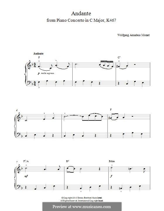Konzert für Klavier und Orchester Nr.21 in C-Dur, K.467: Teil II. Version für Klavier by Wolfgang Amadeus Mozart