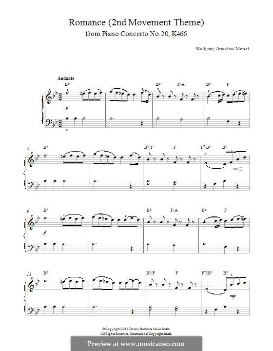 Konzert für Klavier und Orchester Nr.20 in d-Moll, K.466: Teil II (Thema). Version für Klavier by Wolfgang Amadeus Mozart