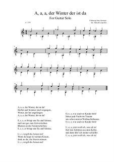 A, a, a, der Winter, der ist da: For guitar solo (C Major) by folklore