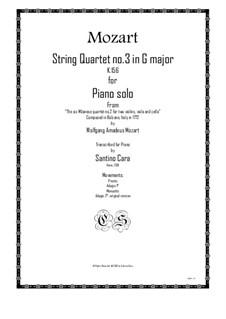 Streichquartett Nr.3 in G-Dur , K.156: Arrangement for piano solo by Wolfgang Amadeus Mozart