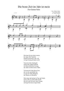 Die beste Zeit im Jahr ist mein: For guitar (G Major) by Melchior Vulpius