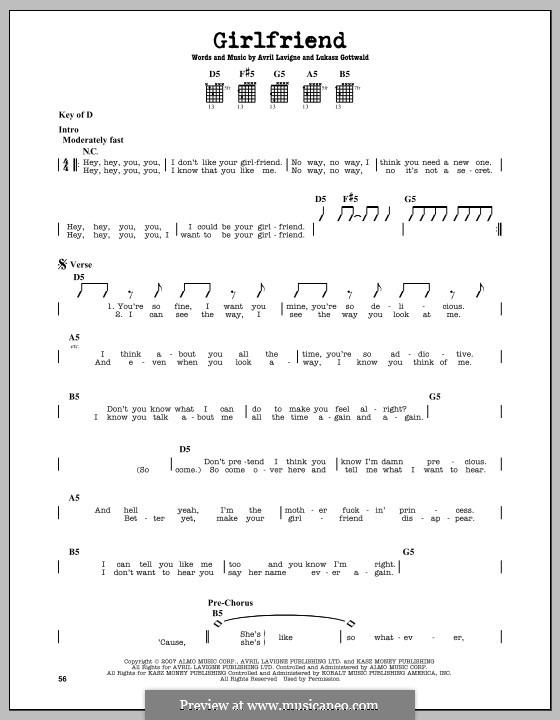 Girlfriend (Avril Lavigne): Für Gitarre by Lukas Gottwald