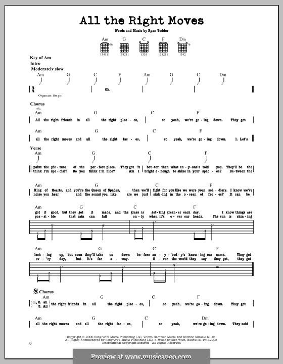All the Right Moves (OneRepublic): Für Gitarre mit Tabulatur by Ryan B Tedder