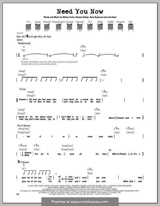 Need You Now: Für Gitarre mit Tabulatur by Charles Kelley, David Haywood, Hillary Dawn Scott, Josh Kear