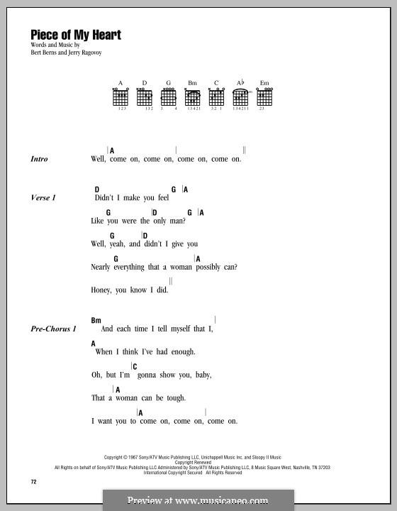 (Take a Little) Piece of My Heart: Lyrics and chords (Janis Joplin) by Bert Berns, Jerry Ragovoy