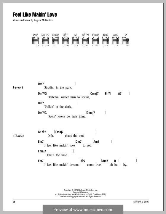 Feel Like Making Love: Text und Akkorde by Eugene McDaniels