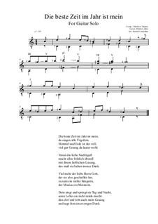 Die beste Zeit im Jahr ist mein: For guitar solo (C Major) by Melchior Vulpius