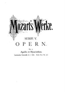 Apollo und Hyacinth, K.38: Apollo und Hyacinth by Wolfgang Amadeus Mozart