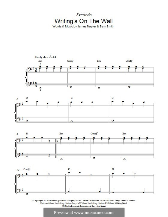 Writing's on the Wall (from James Bond: Spectre): Für Klavier by Samuel Smith, James Napier