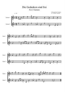 Die Gedanken sind frei: For two guitars (F Major) by folklore