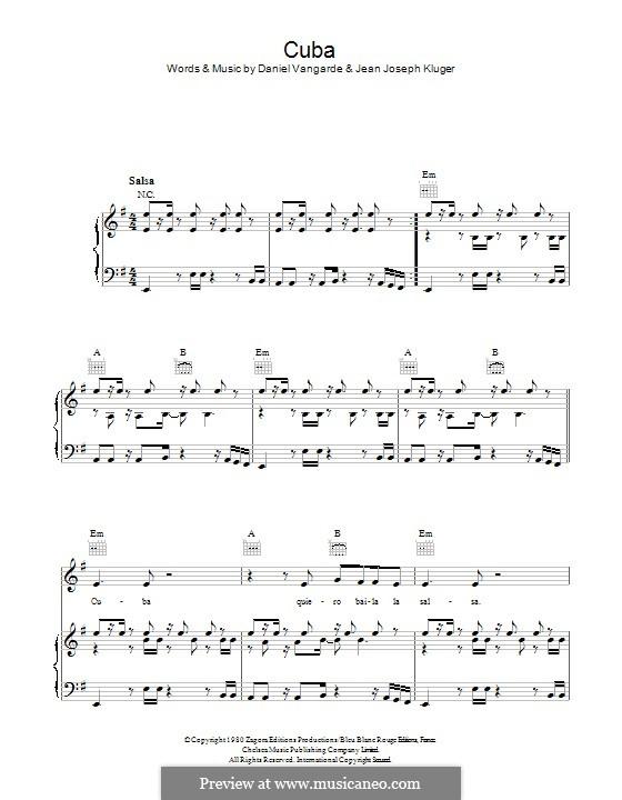 Cuba (The Gibson Brothers): Für Stimme und Klavier (oder Gitarre) by Daniel Vangarde, Jean Kluger