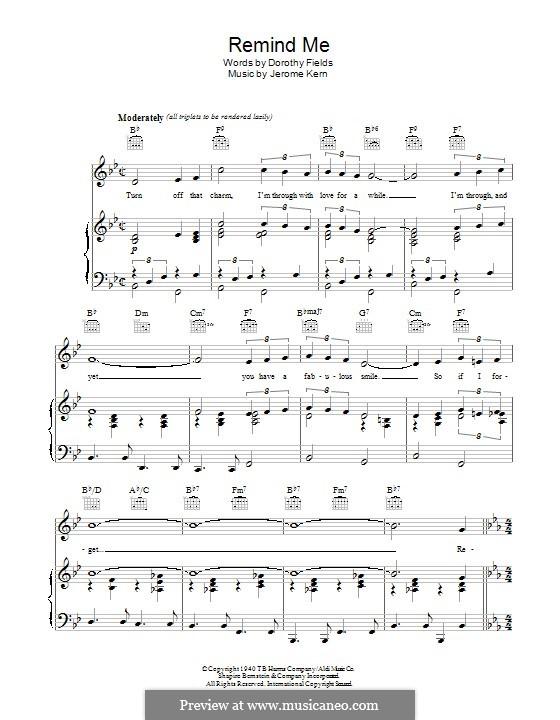 Remind Me (Ella Fitzgerald): Für Stimme und Klavier (oder Gitarre) by Jerome Kern