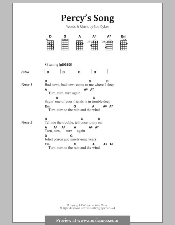 Percy's Song: Text und Akkorde by Bob Dylan