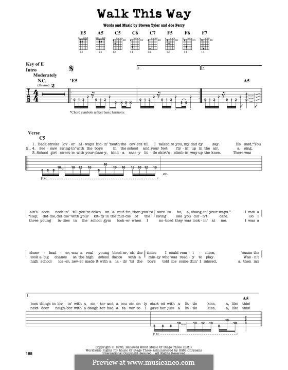 Walk This Way (Aerosmith and Run D.M.C.): Für Gitarre by Joe Perry, Steven Tyler