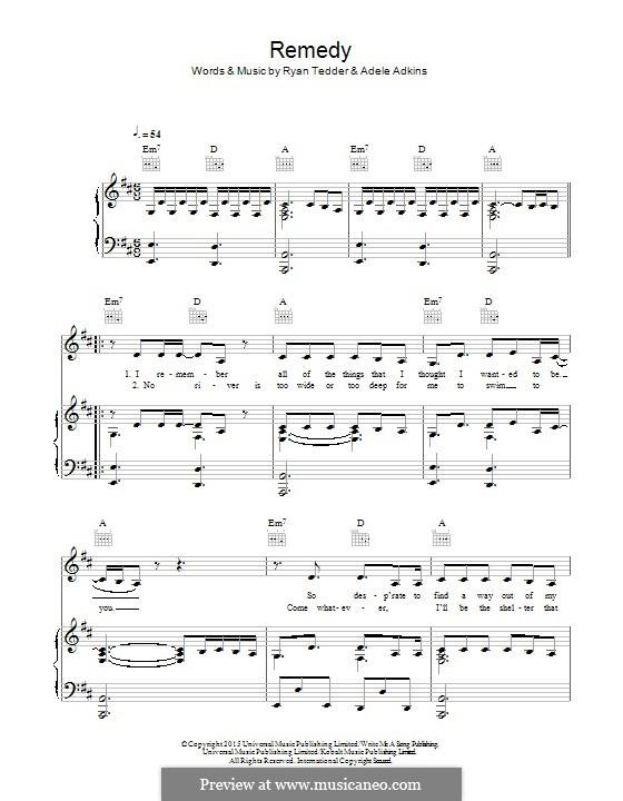 Remedy: Für Stimme und Klavier (oder Gitarre) by Adele, Ryan B Tedder