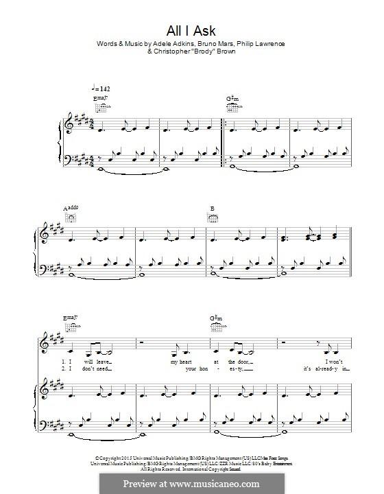 All I Ask: Für Stimme und Klavier (oder Gitarre) by Adele, Christopher Brown, Bruno Mars, Philip Lawrence